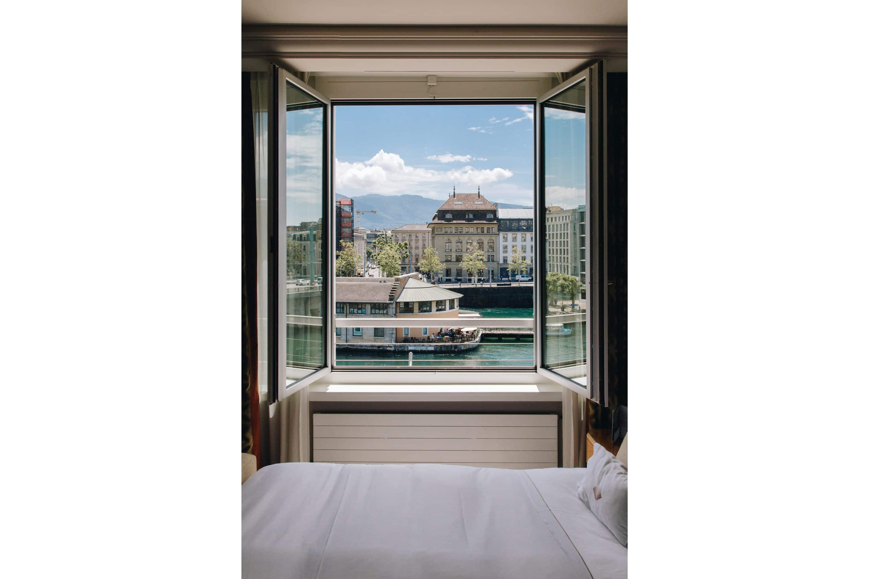 View of the river from a room at Mandarin Oriental, Geneva