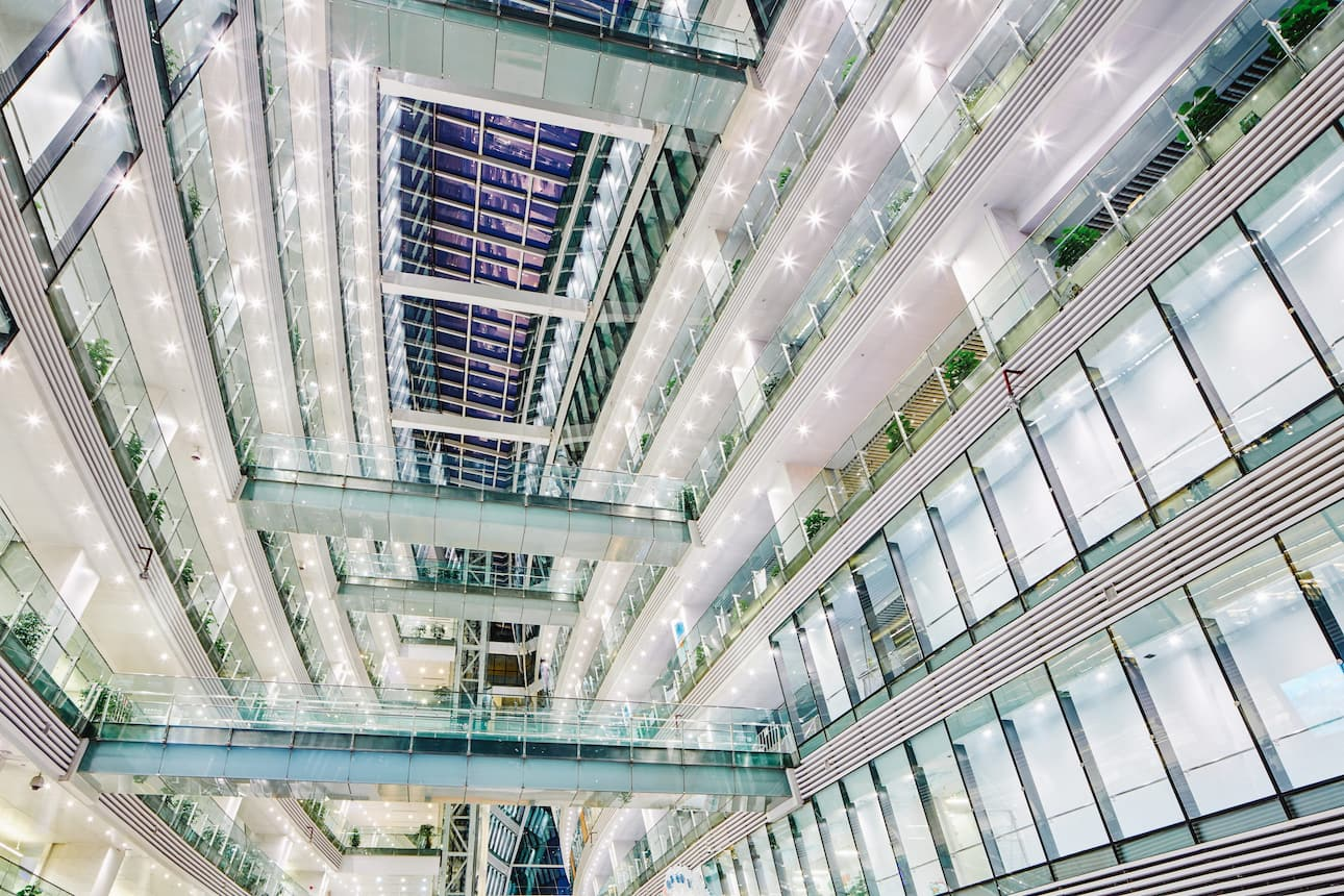 Interior architecture of Guangzhou Public Library at night time