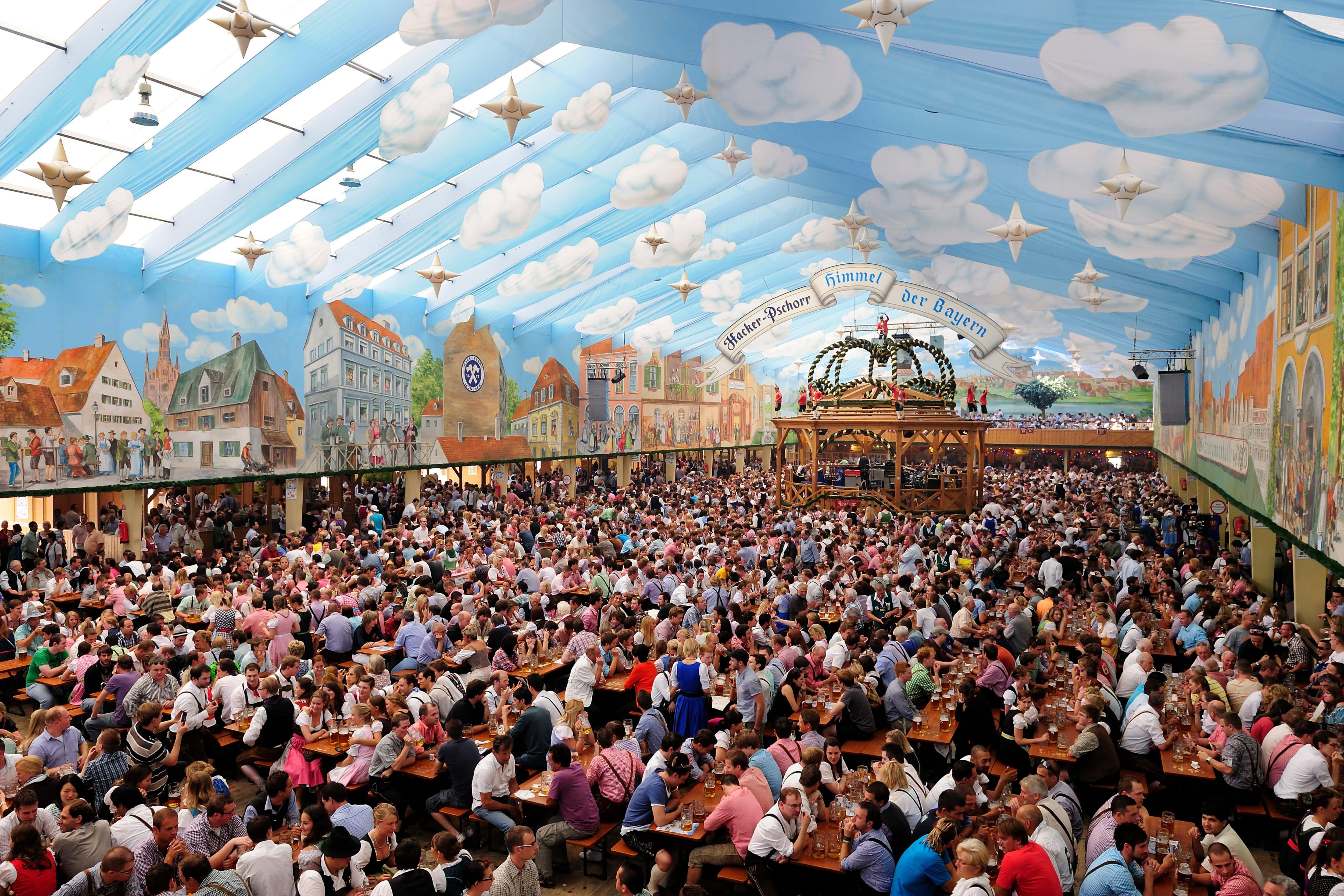Oktoberfest tent full of people