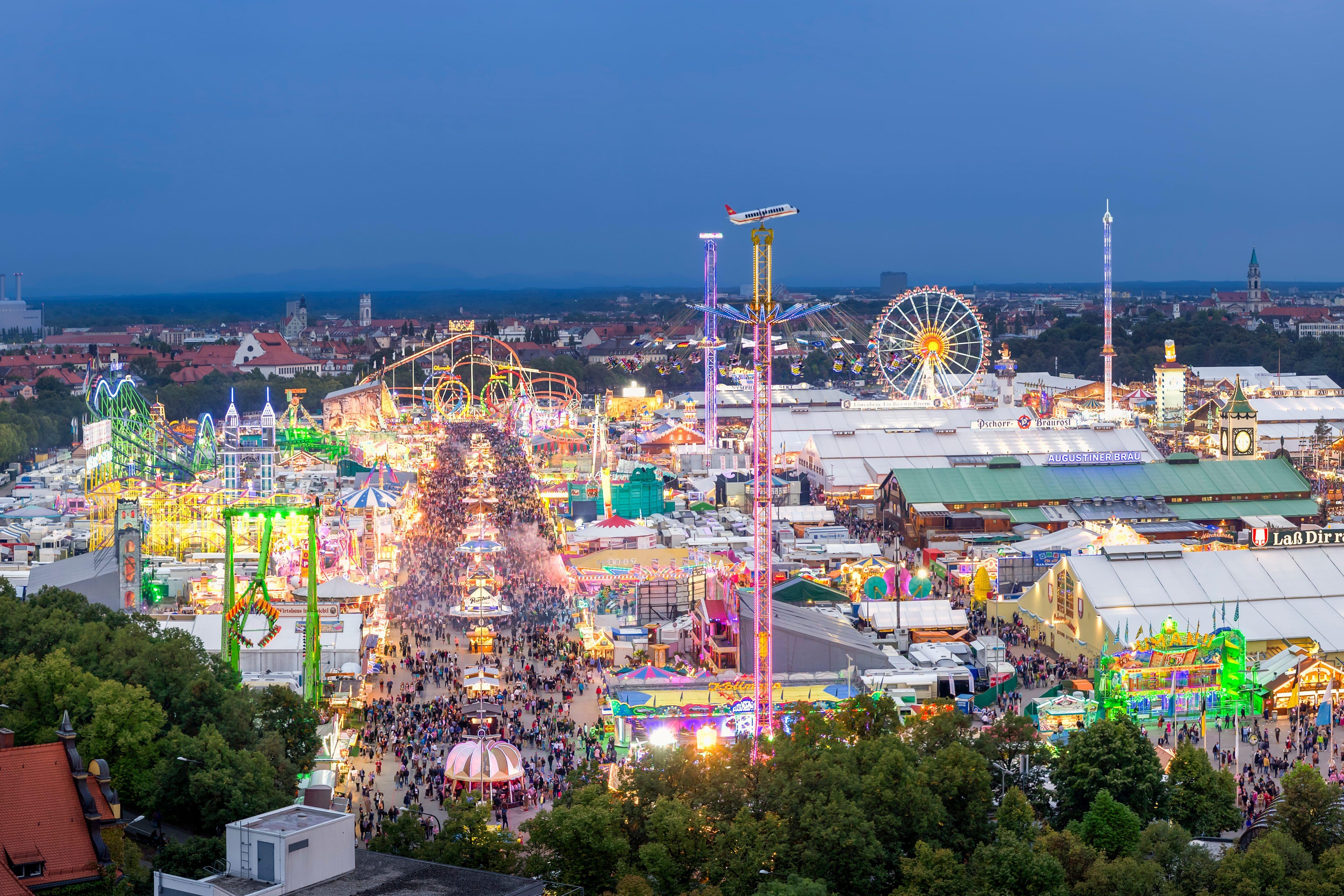 Oktoberfest funfair by night