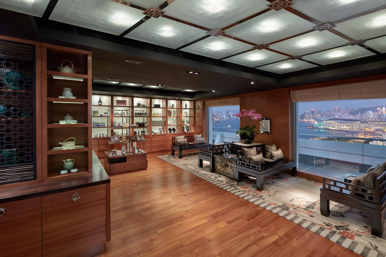 Spa reception with views of Victoria Bay, Hong Kong