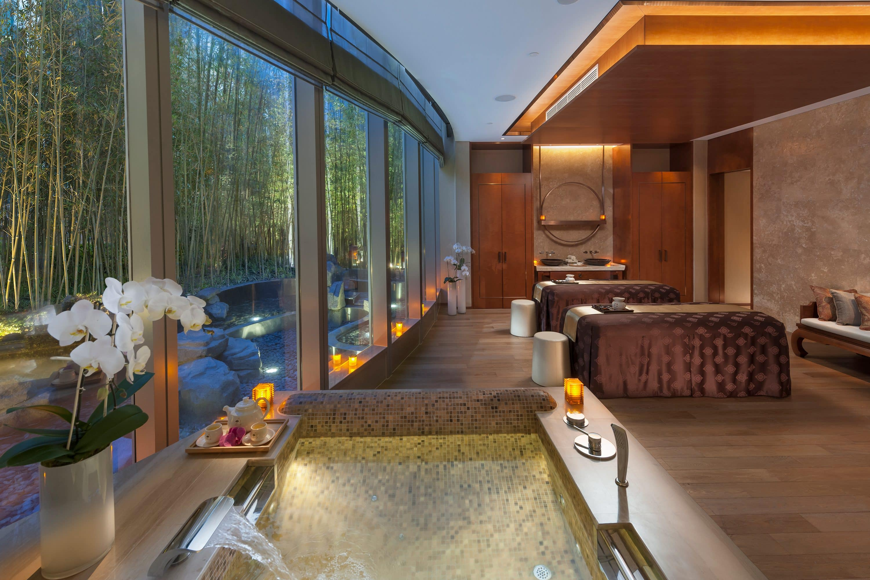 Couple's treatment suite at Mandarin Oriental Pudong, Shanghai