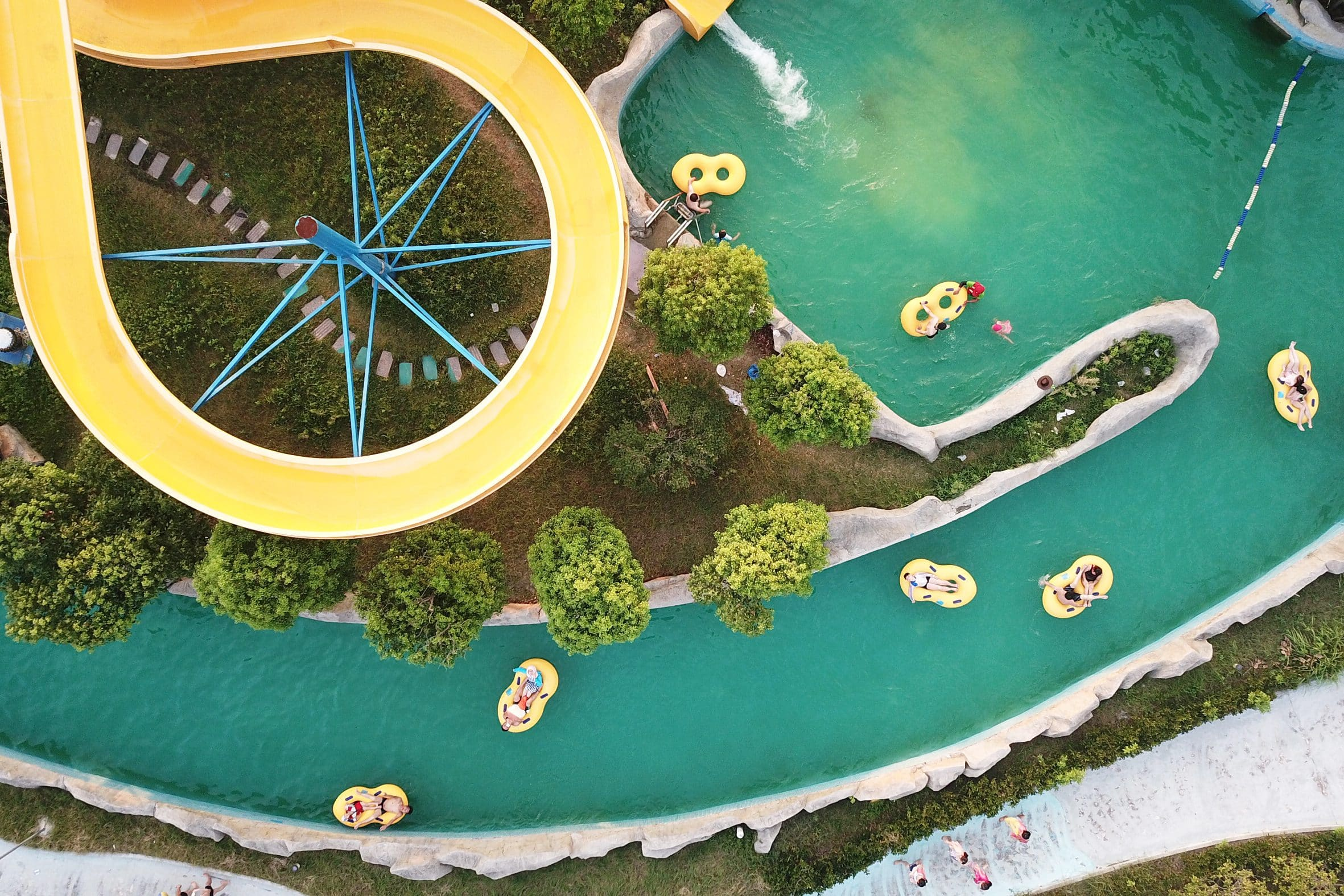 Ariel view of a lazy river