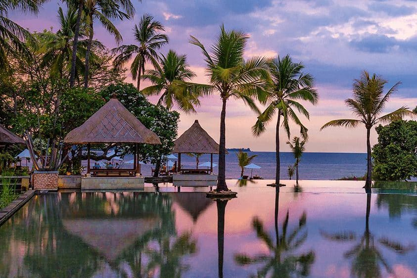 Infinity pool and cabanas at the Oberoi Lombok hotel