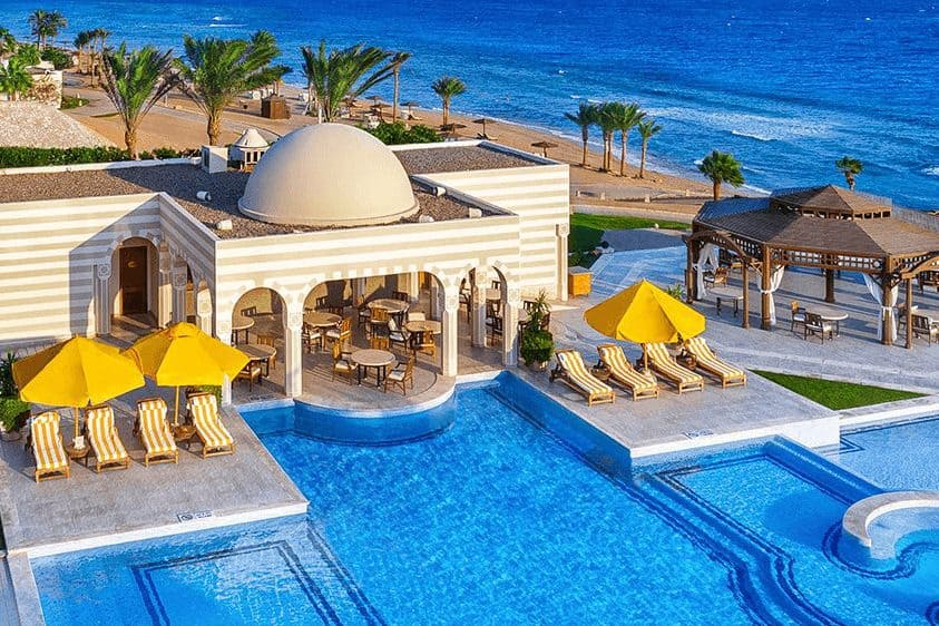 Pool and loungers at The Oberoi Beach Resort, Sahl Hasheesh, Egypt