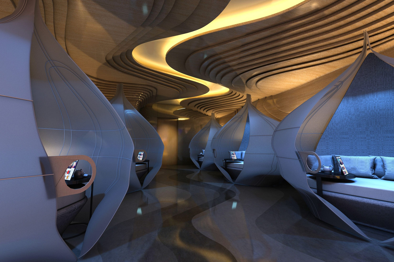 Relaxation room pods at the spa at Mandarin Oriental Jumeira, Dubai