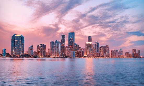 Miami cityscape at night