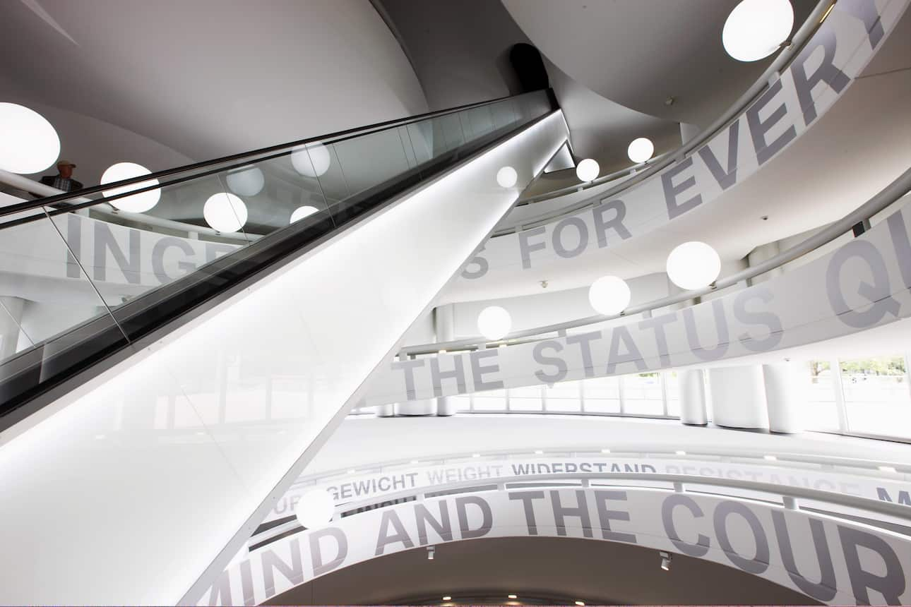 An interior staircase of Munich's BMW Museum