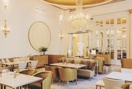 Gold and cream interior of Deessa restaurant