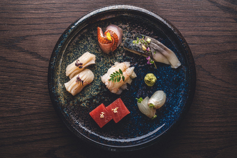 Omakase seafood dish at The Aubrey restaurant, Hong Kong