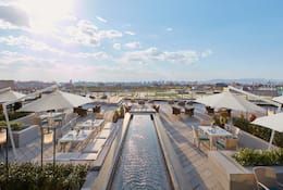 Pool and terrace of Mandarin Oriental Wangfujing, Beijing, overlooking the Forbidden City