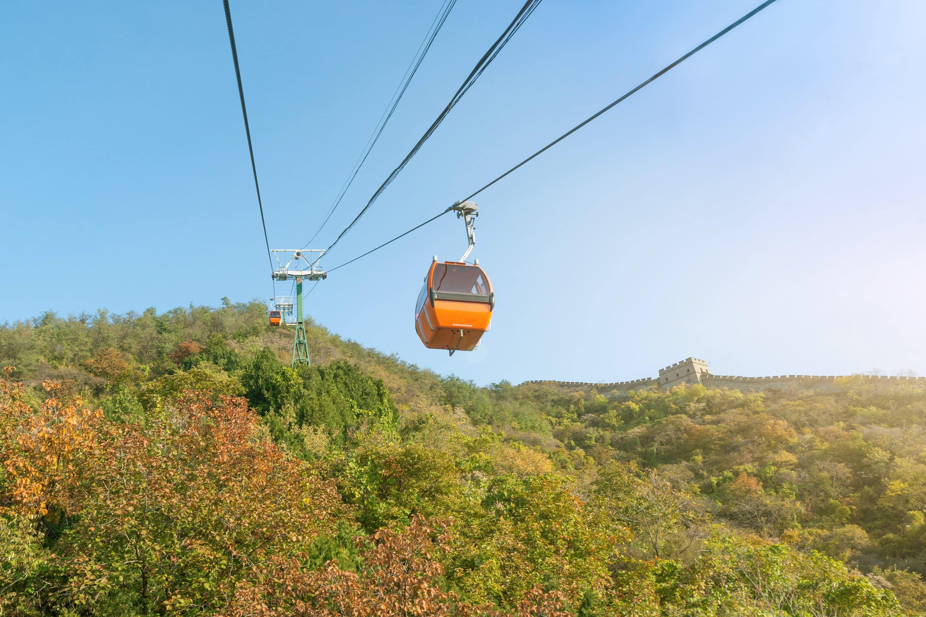 A cable car transports visitors at Mutianyu, Beijing