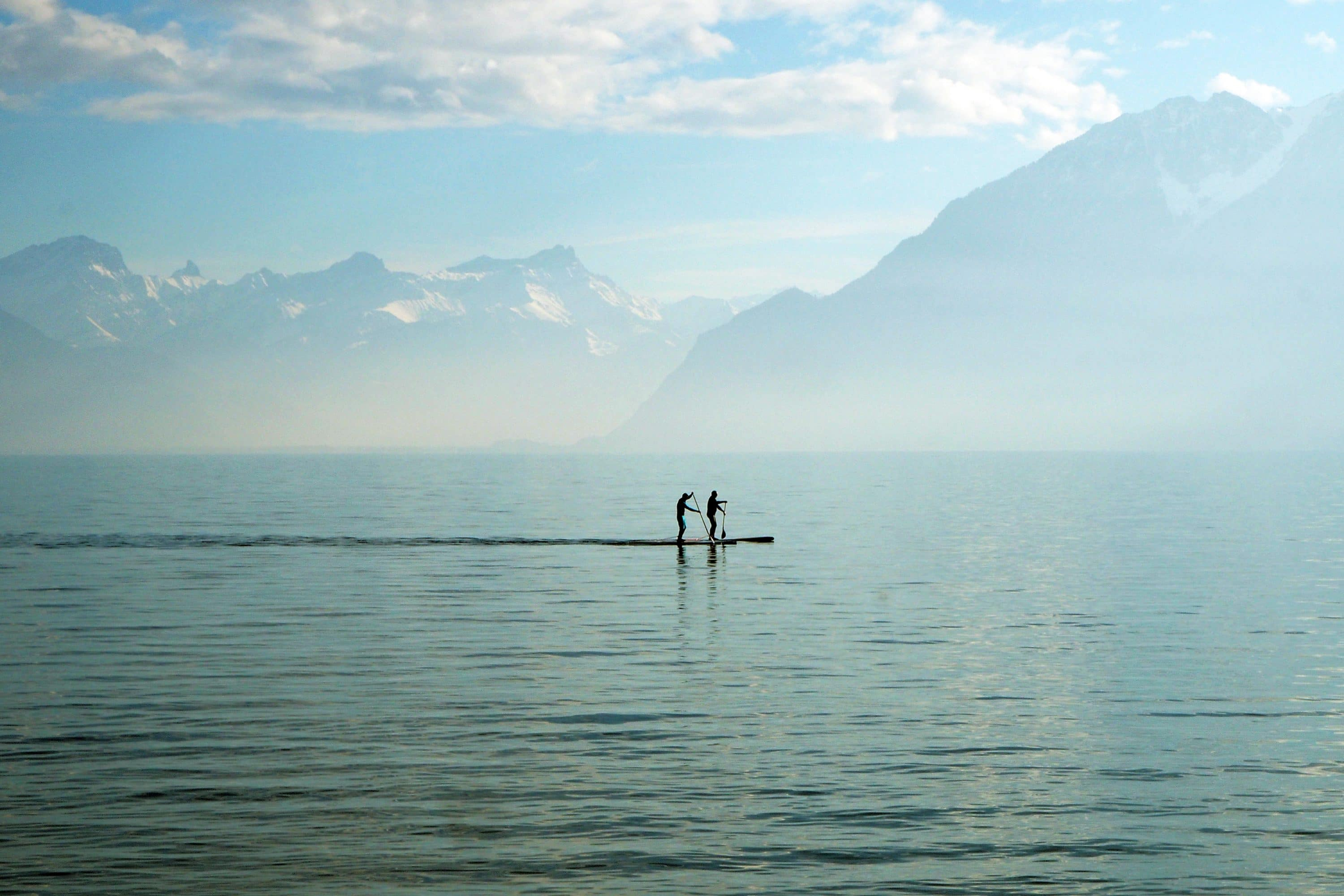 Stand-up paddle boarding on Lake Geneva