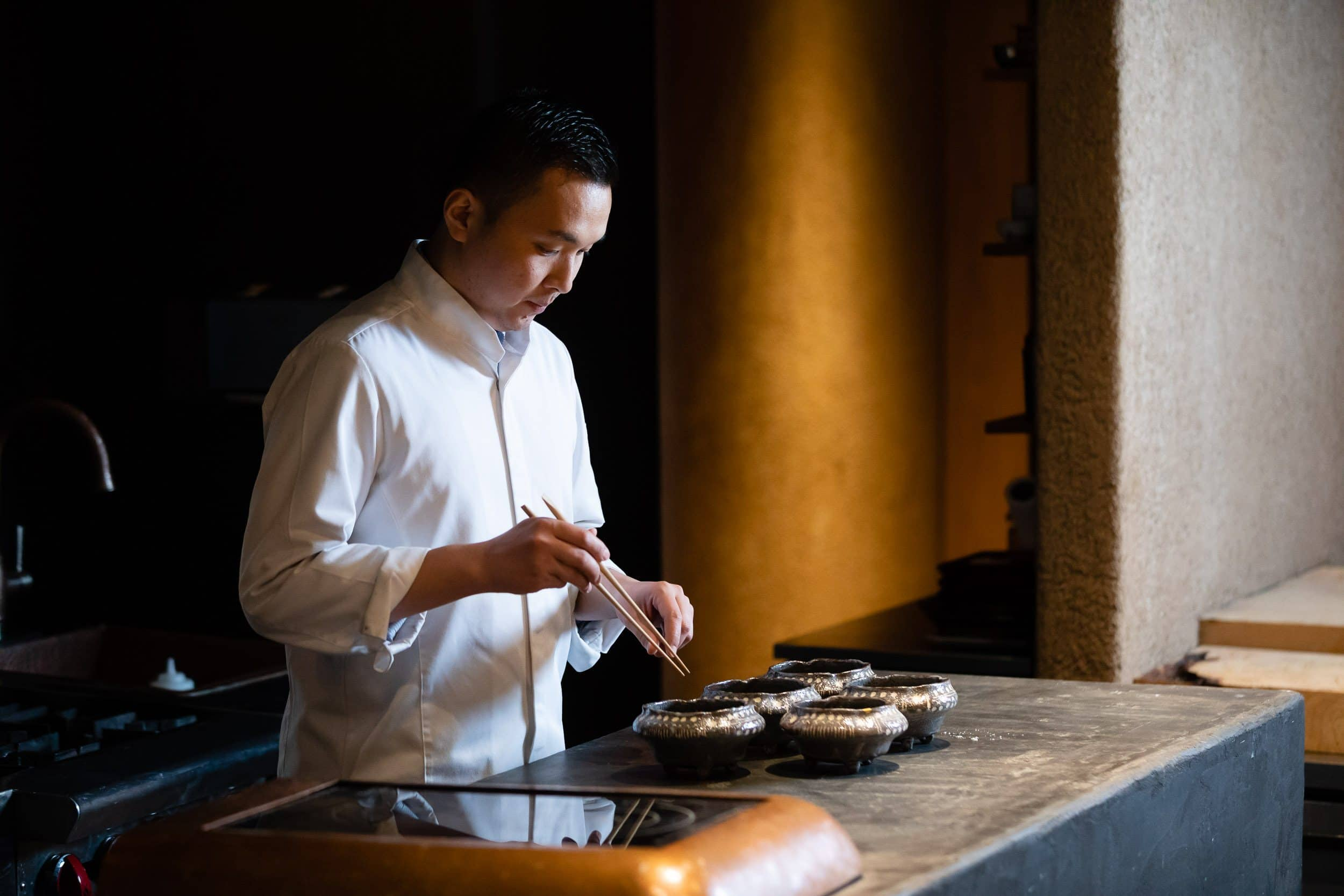 Chef prepares food at Odo