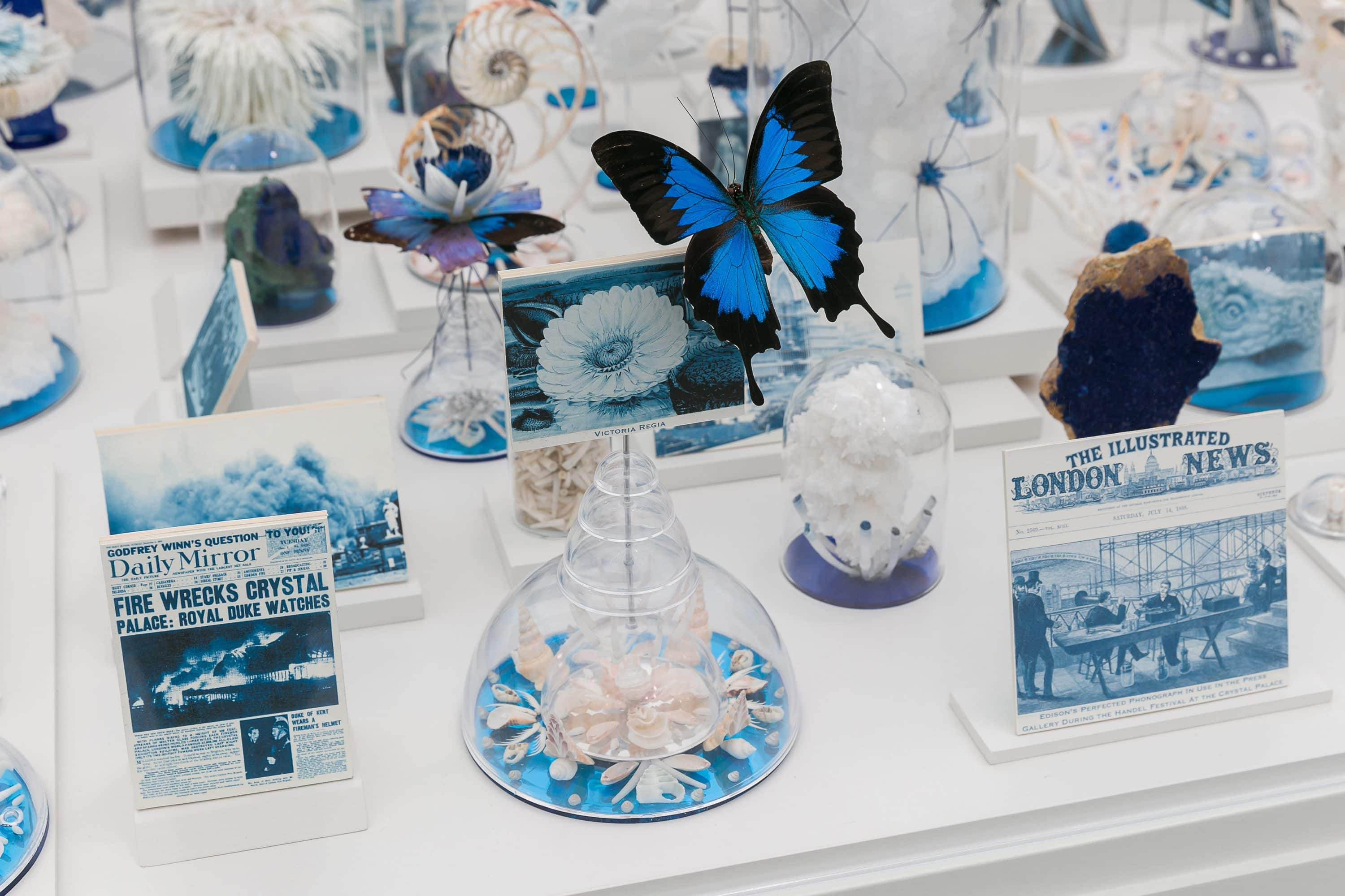 Blue and white exhibits at Frieze New York