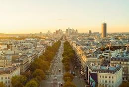 Paris skyline at sunset