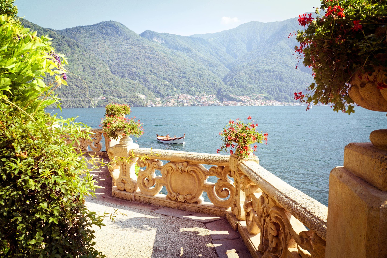 A sun-dappled terrace overlooking Lake Como