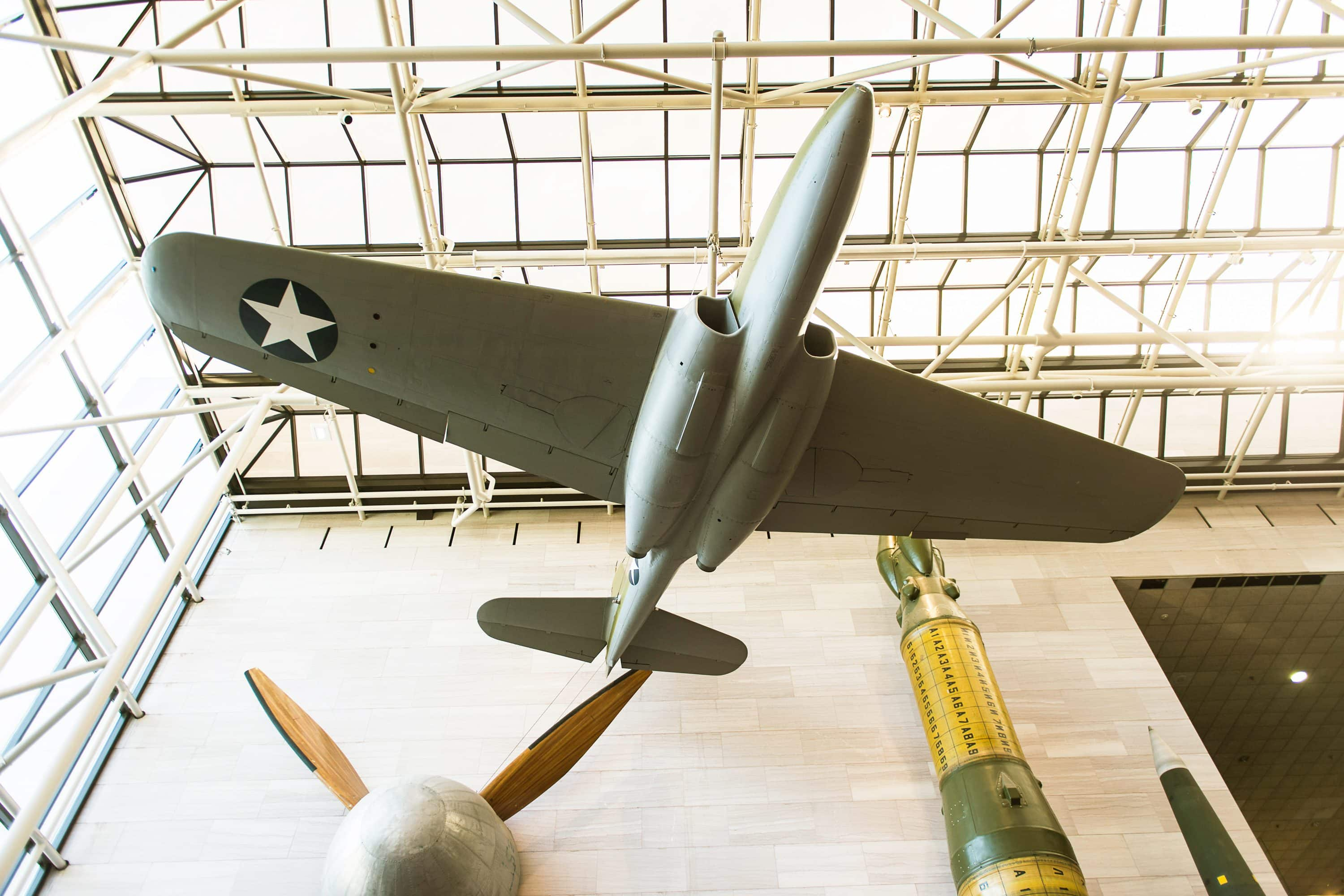 Plane suspended in the air at the National Air and Space Museum, Washington D.C.