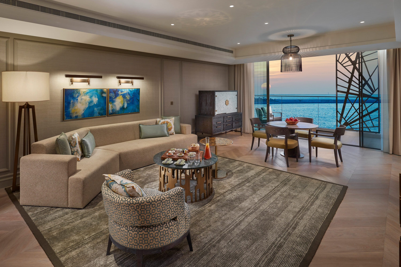 Living room in suite at Mandarin Oriental Jumeira, Dubai