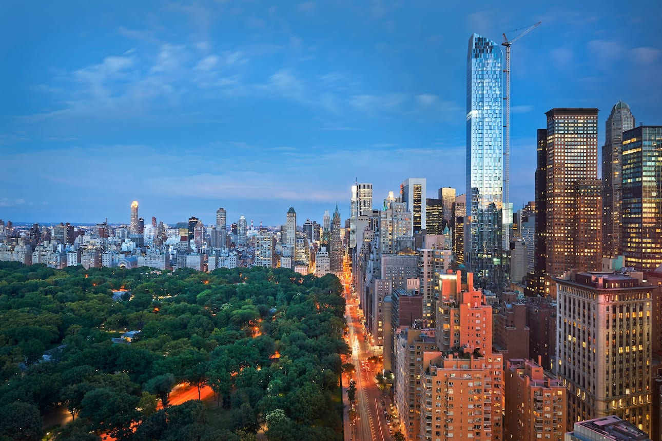 New York City skyline and view of Central Park
