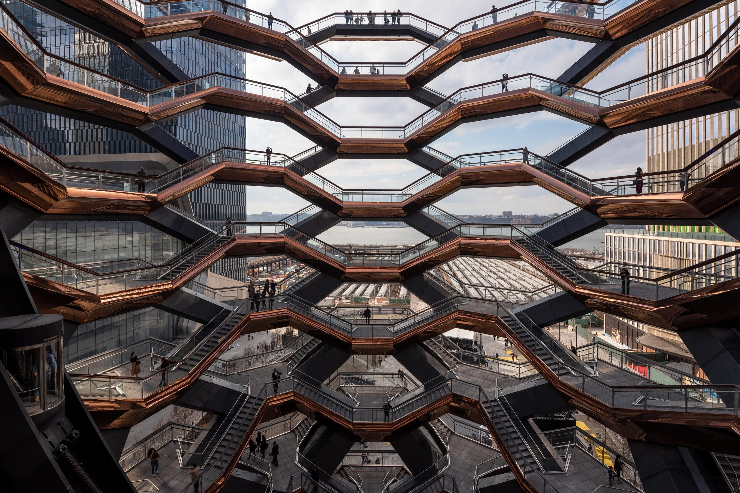Geometric staircases at Hudson Yards, New York