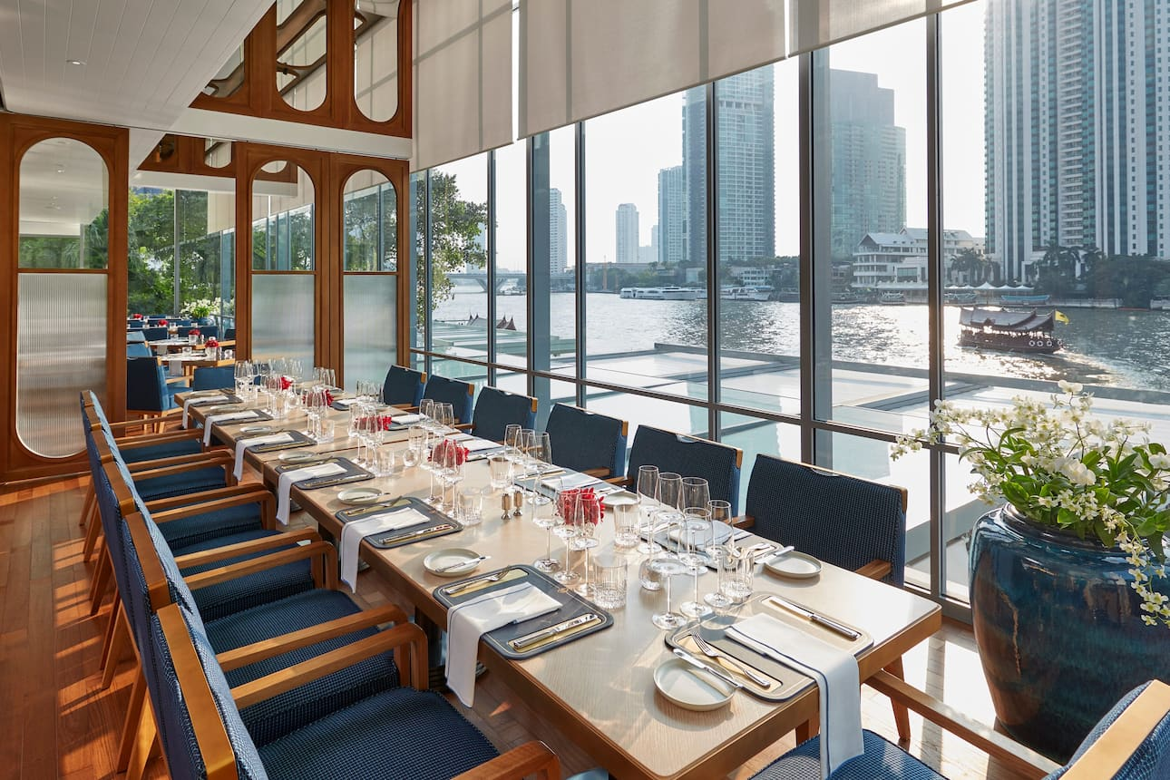 Private dining room looking out over the Chao Phraya River at Mandarin Oriental, Bangkok