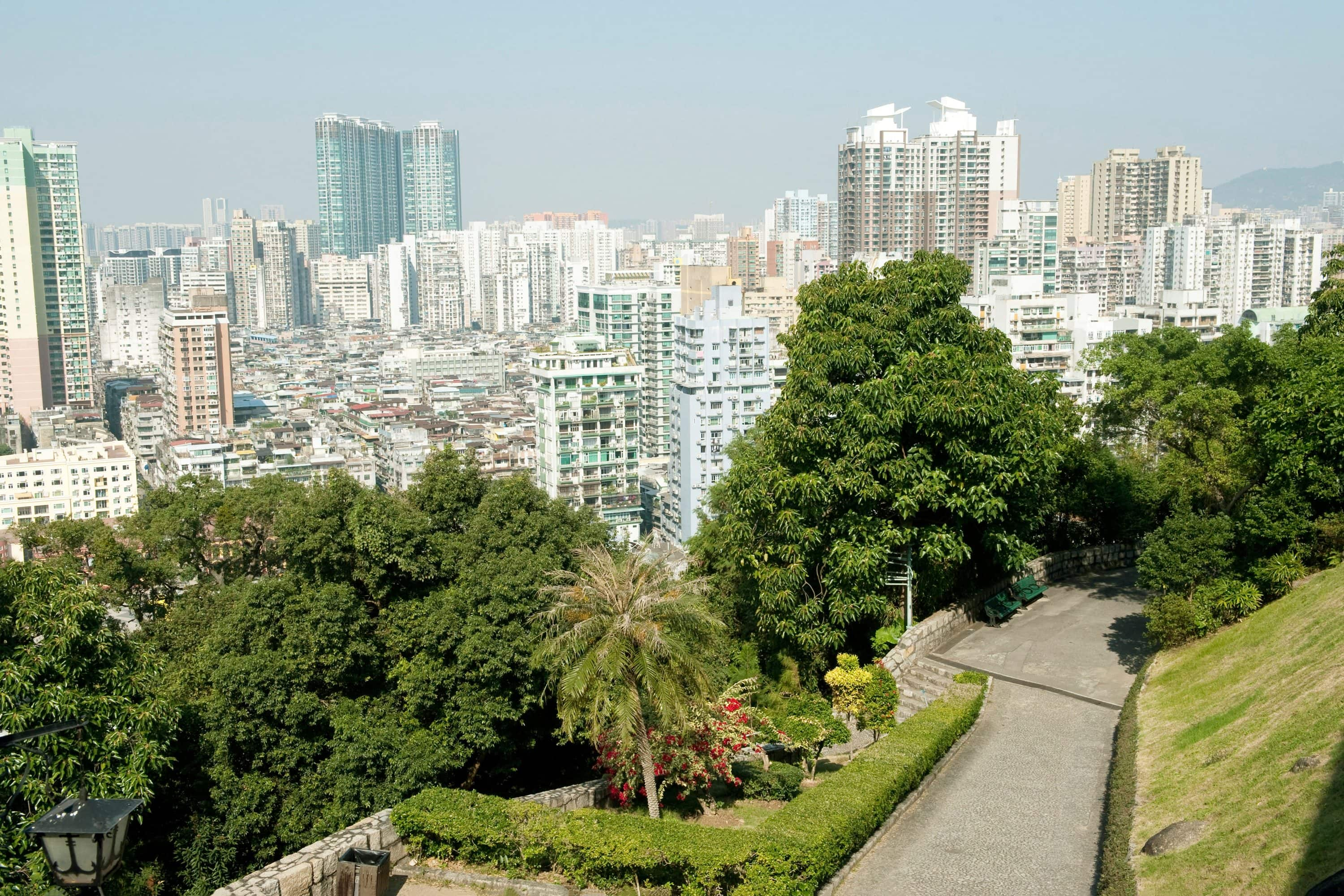 View of the cityscape from the fortress, Macau