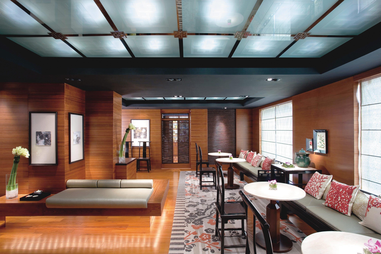 Plush furniture inside the Spa reception at Mandarin Oriental, Hong Kong