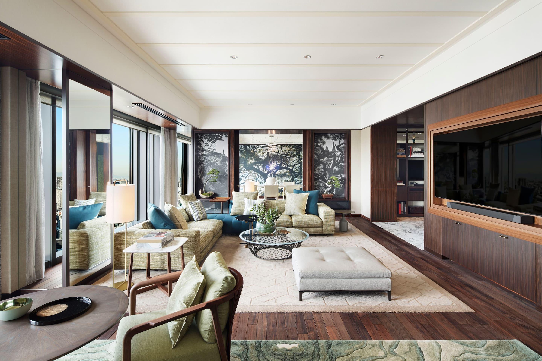 Living room in a suite at Mandarin Oriental, Tokyo