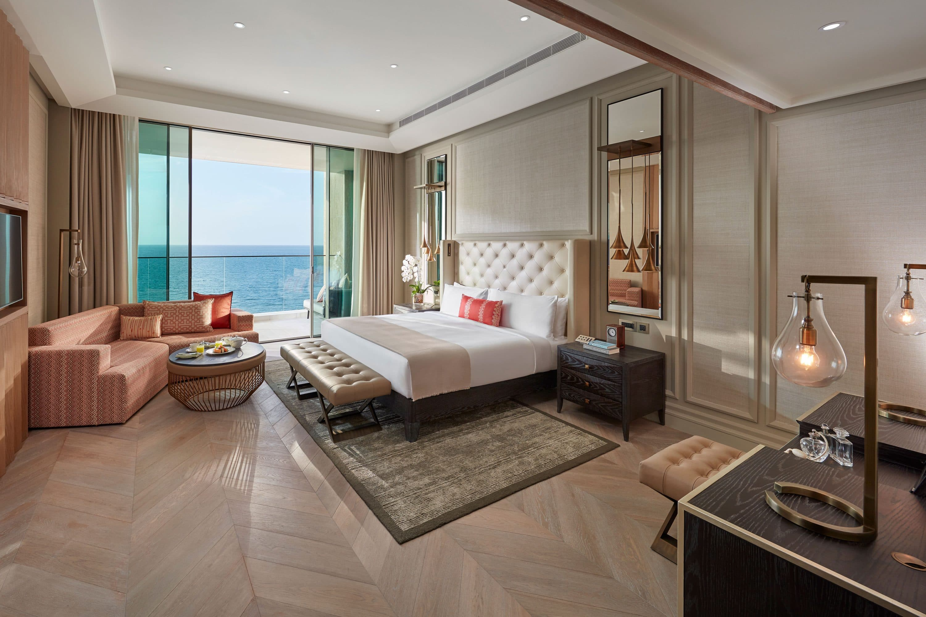 Bedroom in the two-Bedroom Suite with Terrace at Mandarin Oriental Jumeira, Dubai