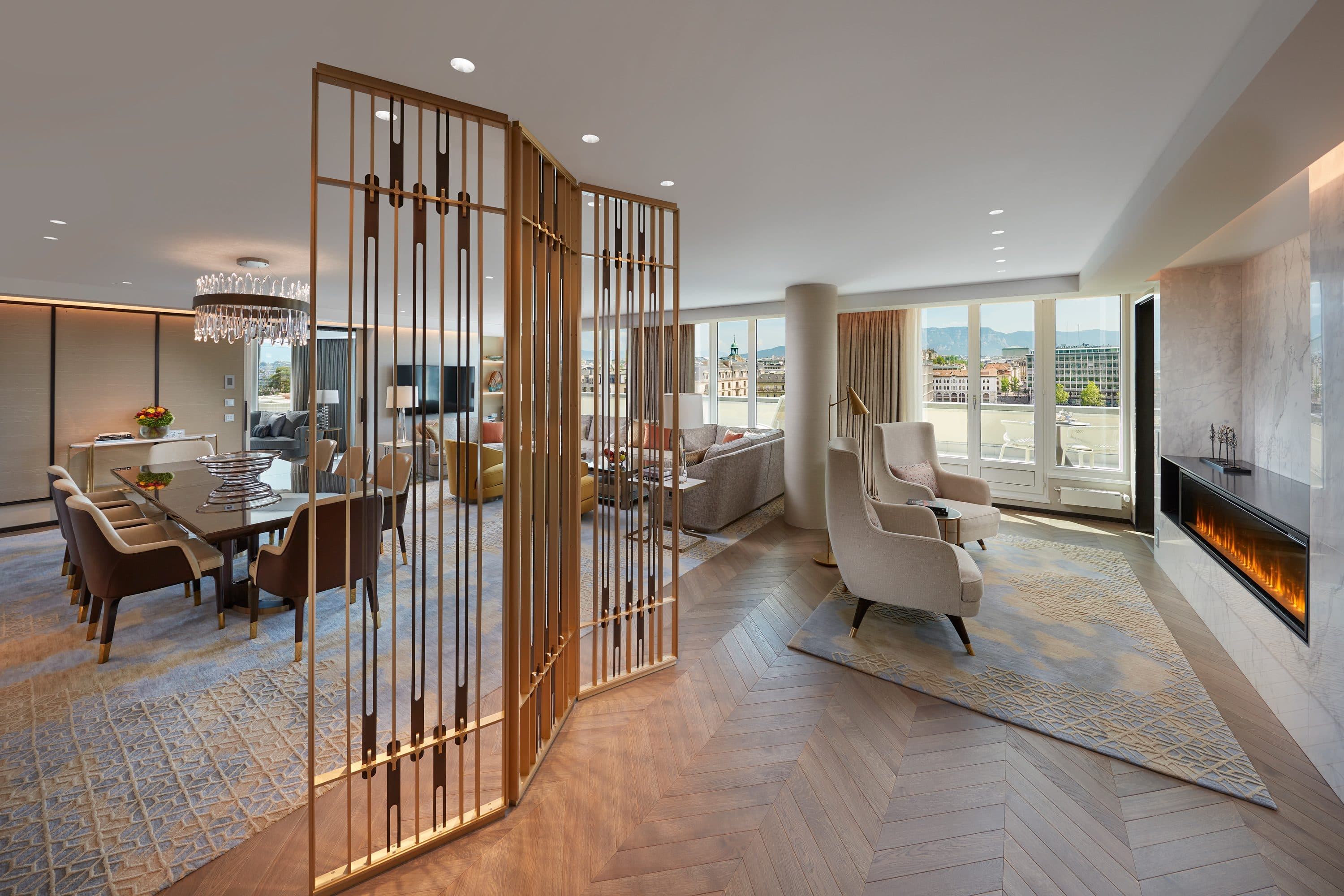 Dining and living area in Royal Penthouse Suite at Mandarin Oriental, Geneva
