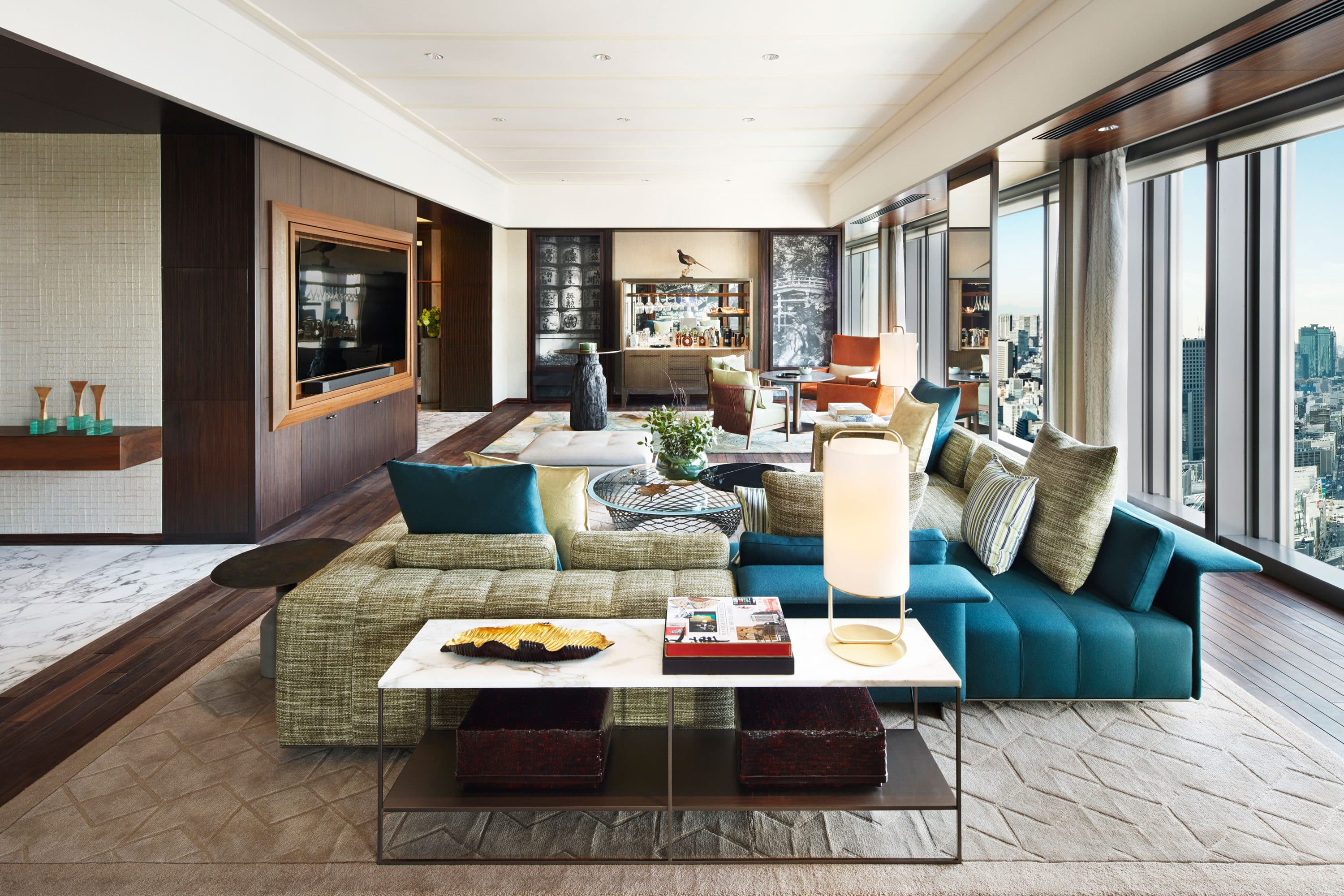 Living room of the Presidential Suite at Mandarin Oriental, Tokyo