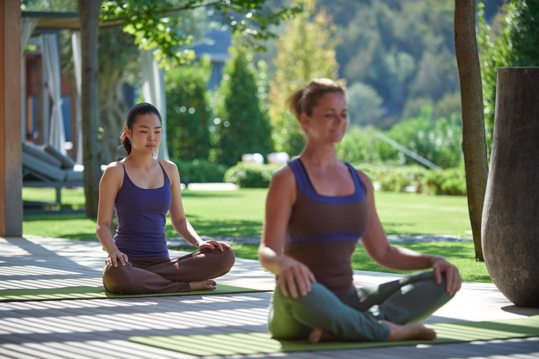 Woman practise yoga outside