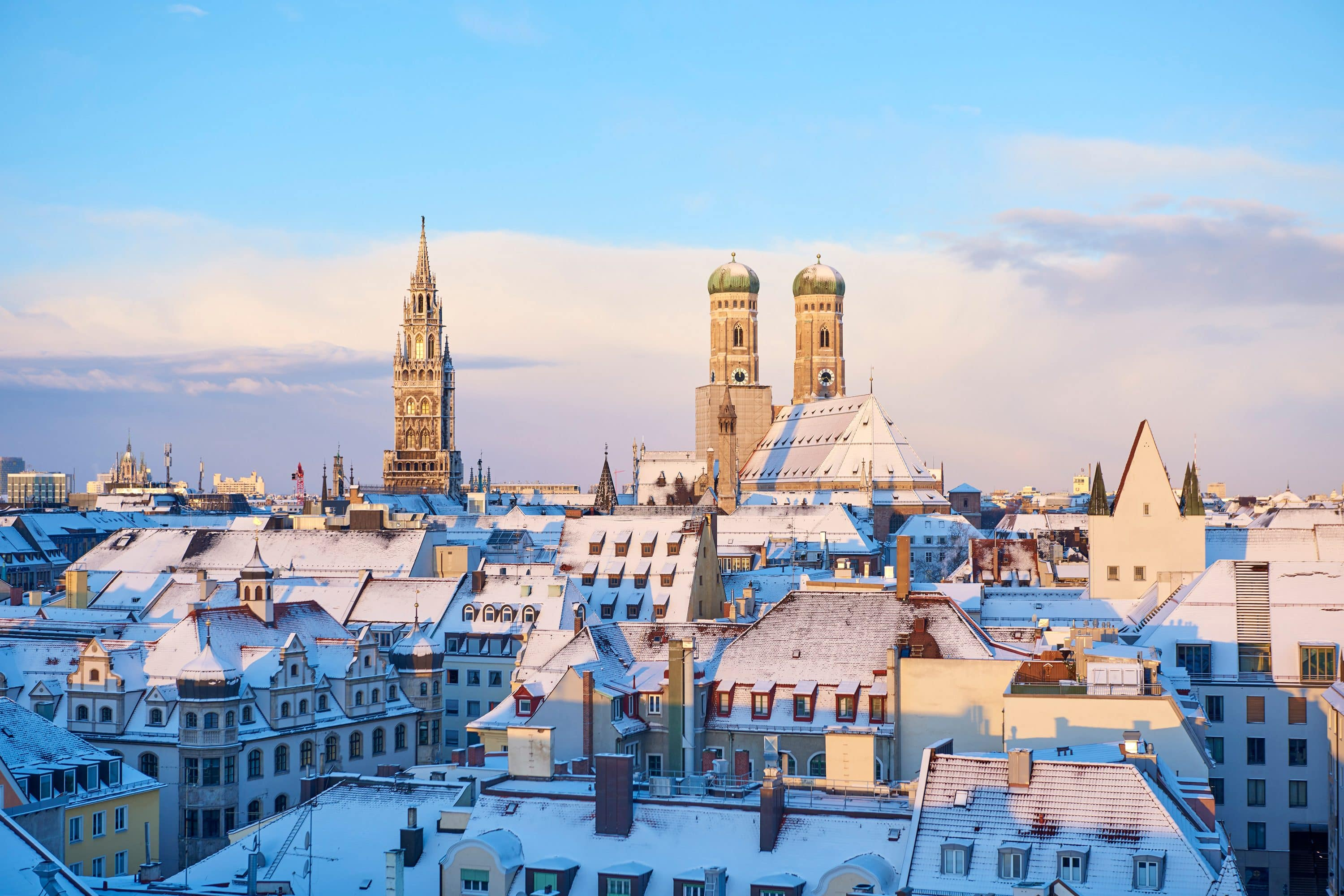 Snow-capped rooftops in Munich