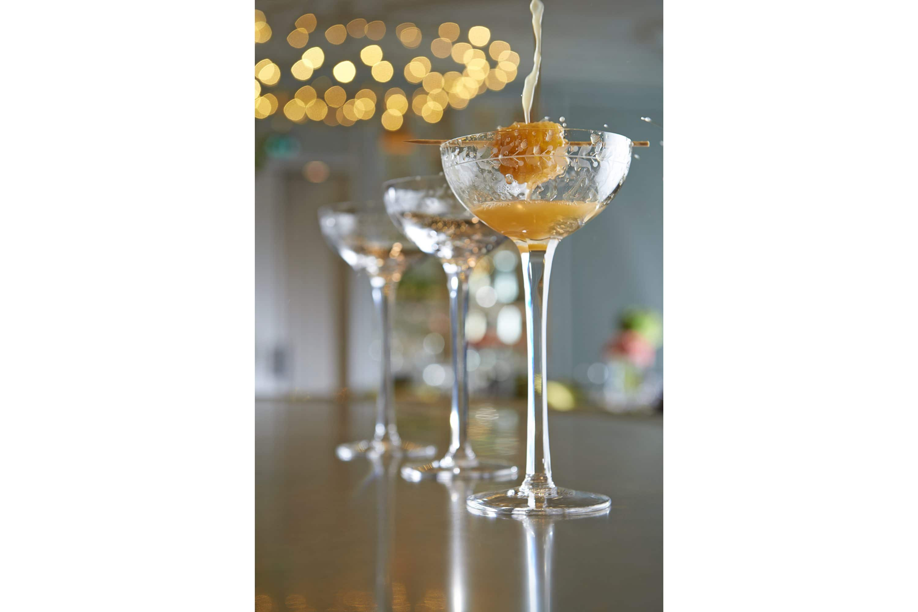 Cocktail glasses with garnish at The Rosebery