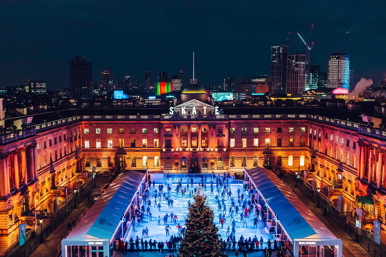 Illuminated ice rink at Somerset House, London