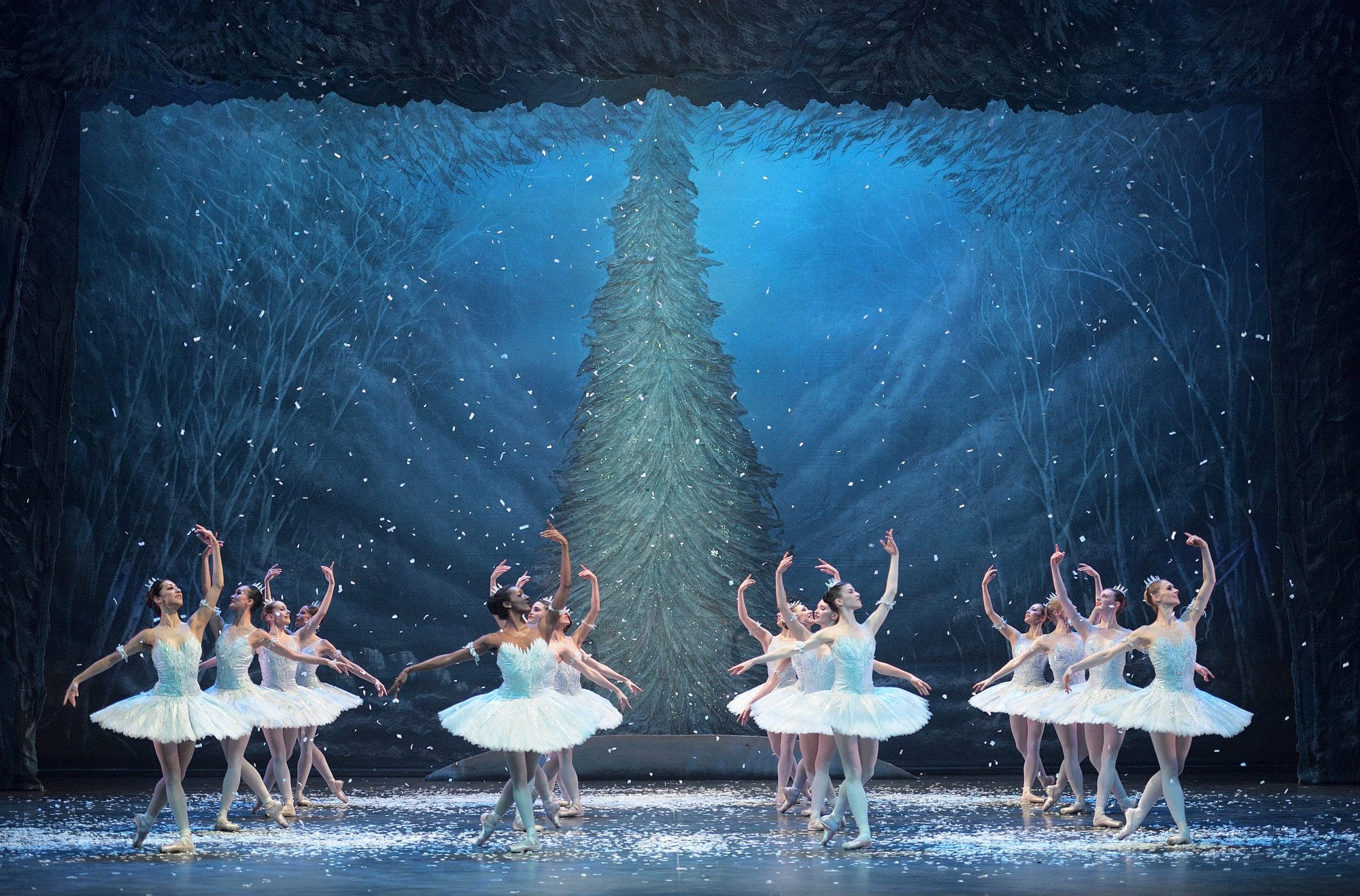 Ballerinas perform The Nutcracker on stage