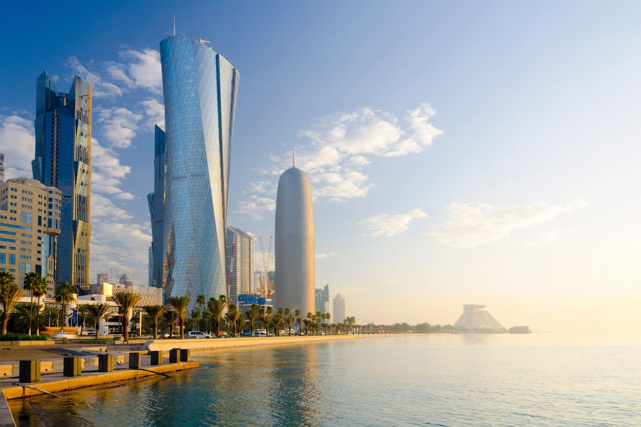 The Doha waterfront at sunset