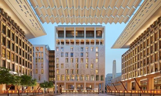 Canopy and facade of Mandarin Oriental, Doha