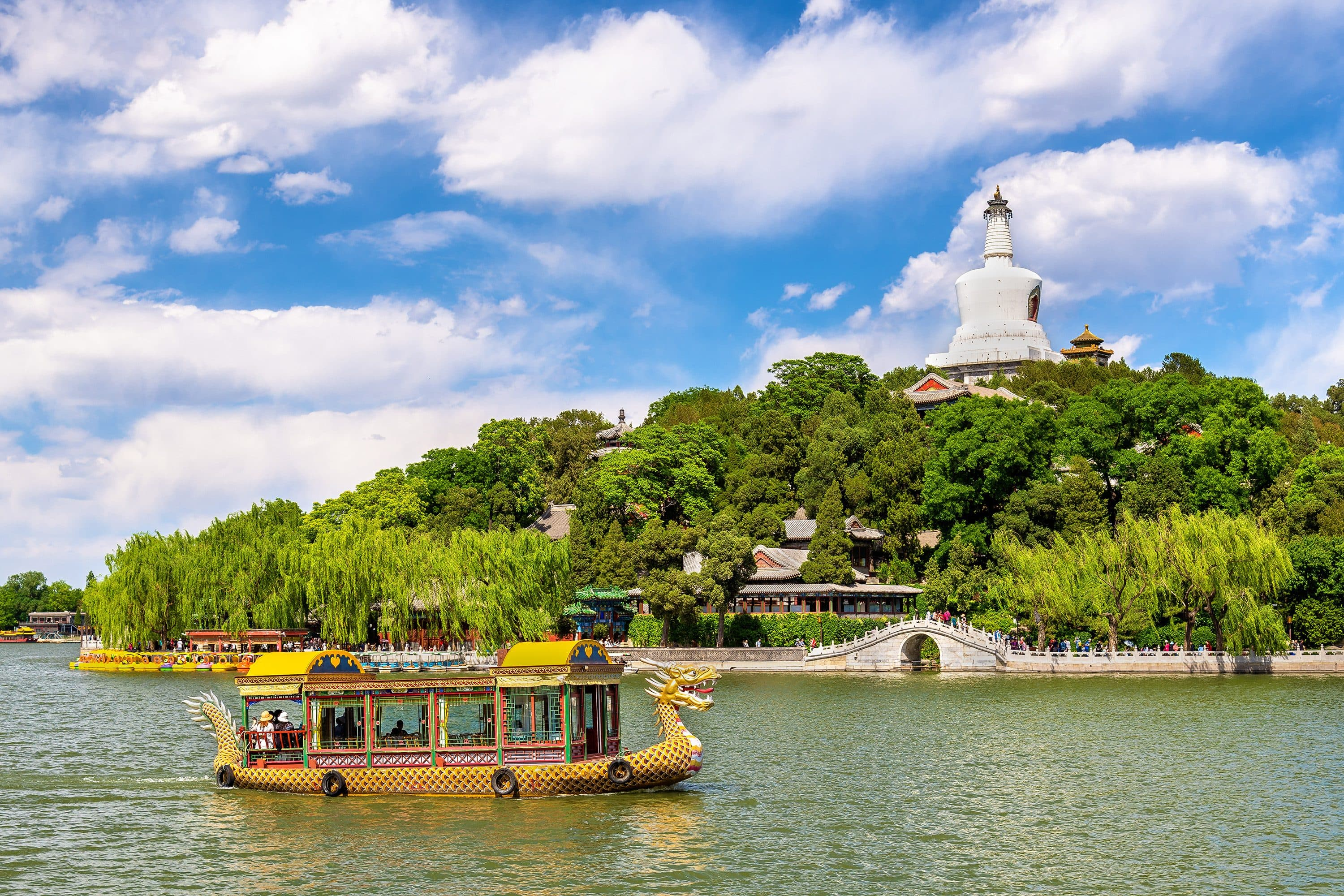 Boat on the water at the Beihai Park, Beijing