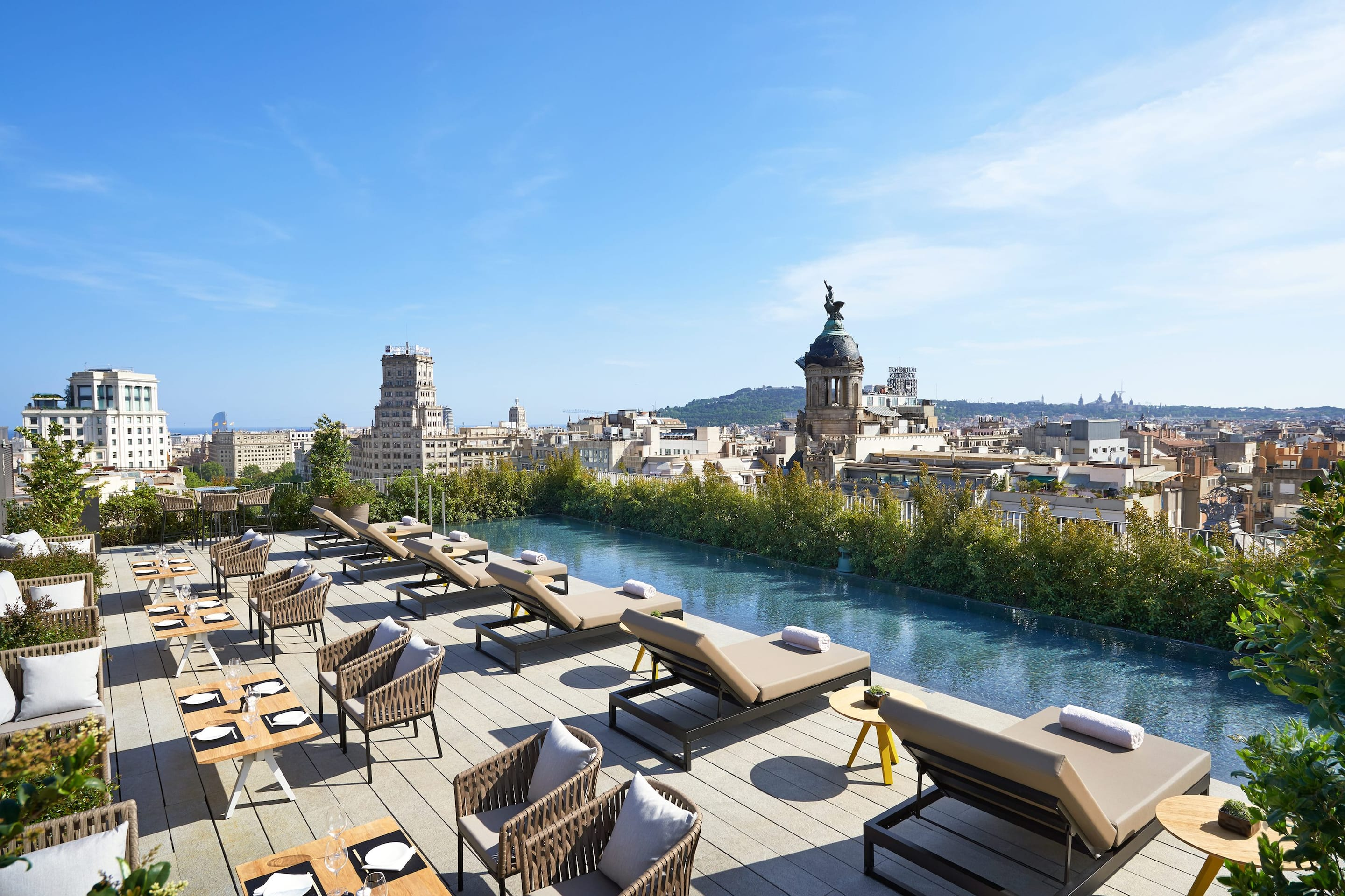 City views from rooftop bar Terrat and the plant-fringed pool at Mandarin Oriental, Barcelona