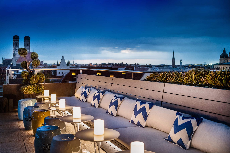 View across the Munich skyline from The Terrace rooftop at Mandarin Oriental, Munich