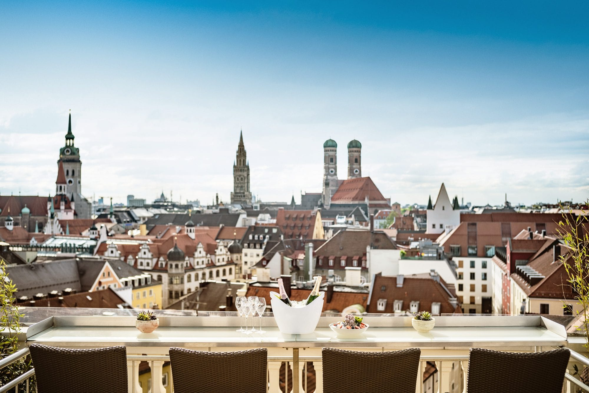 View across the Munich skyline from The Terrace rooftop at Mandarin Oriental, Munich
