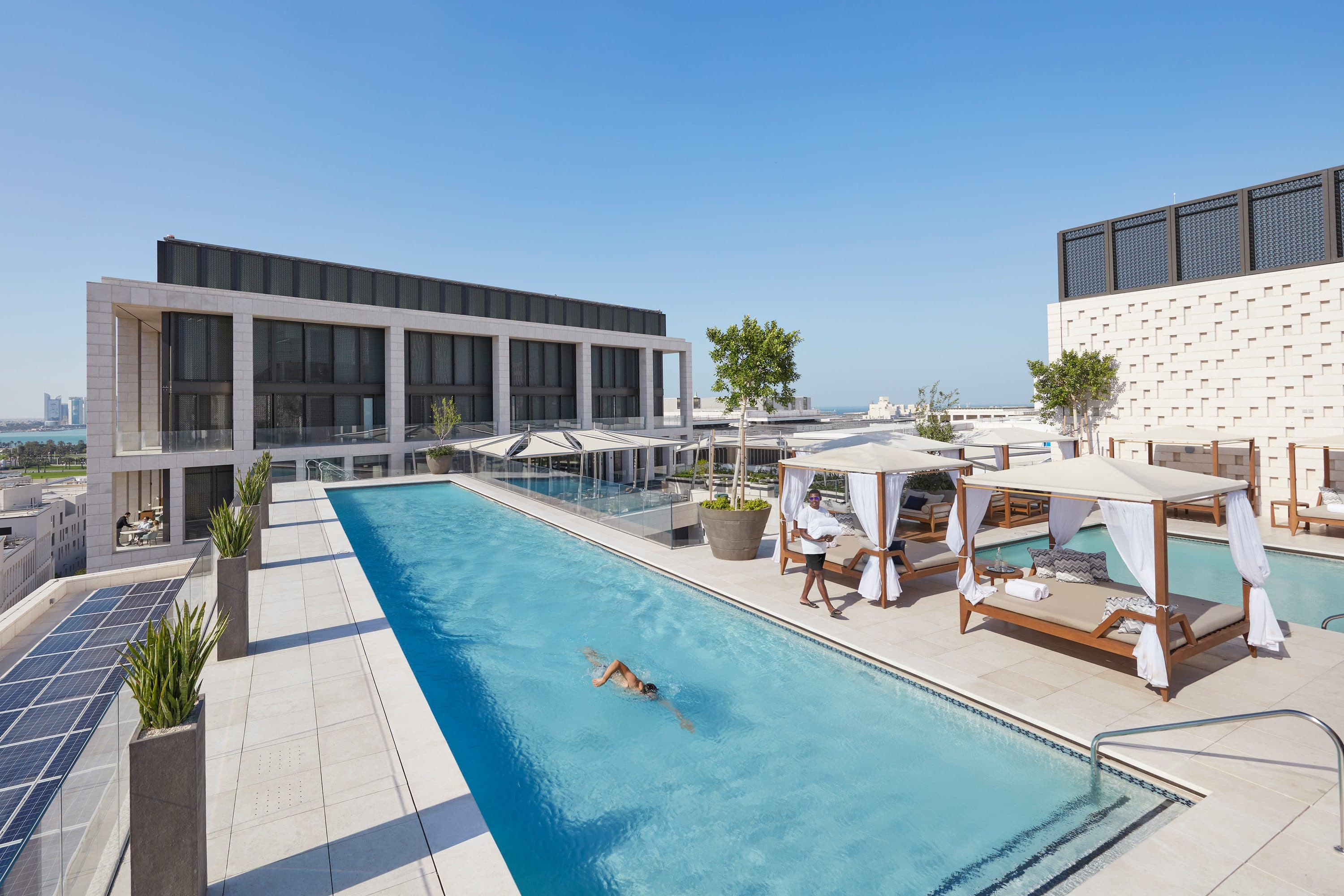 The rooftop pool at Mandarin Oriental, Doha