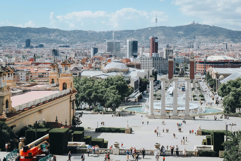 View of Barcelona's Magic Fountain of Montjuïc and the Montjuïc neighbourhood