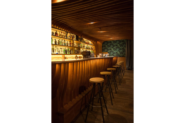 Fully stocked shelves inside the speakeasy bar, Paradiso