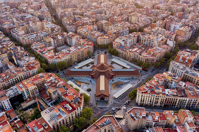 Bird's eye view of Sant Antoni Market, Barcelona