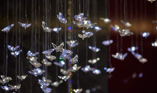 Crystal butterflies suspended from ceiling