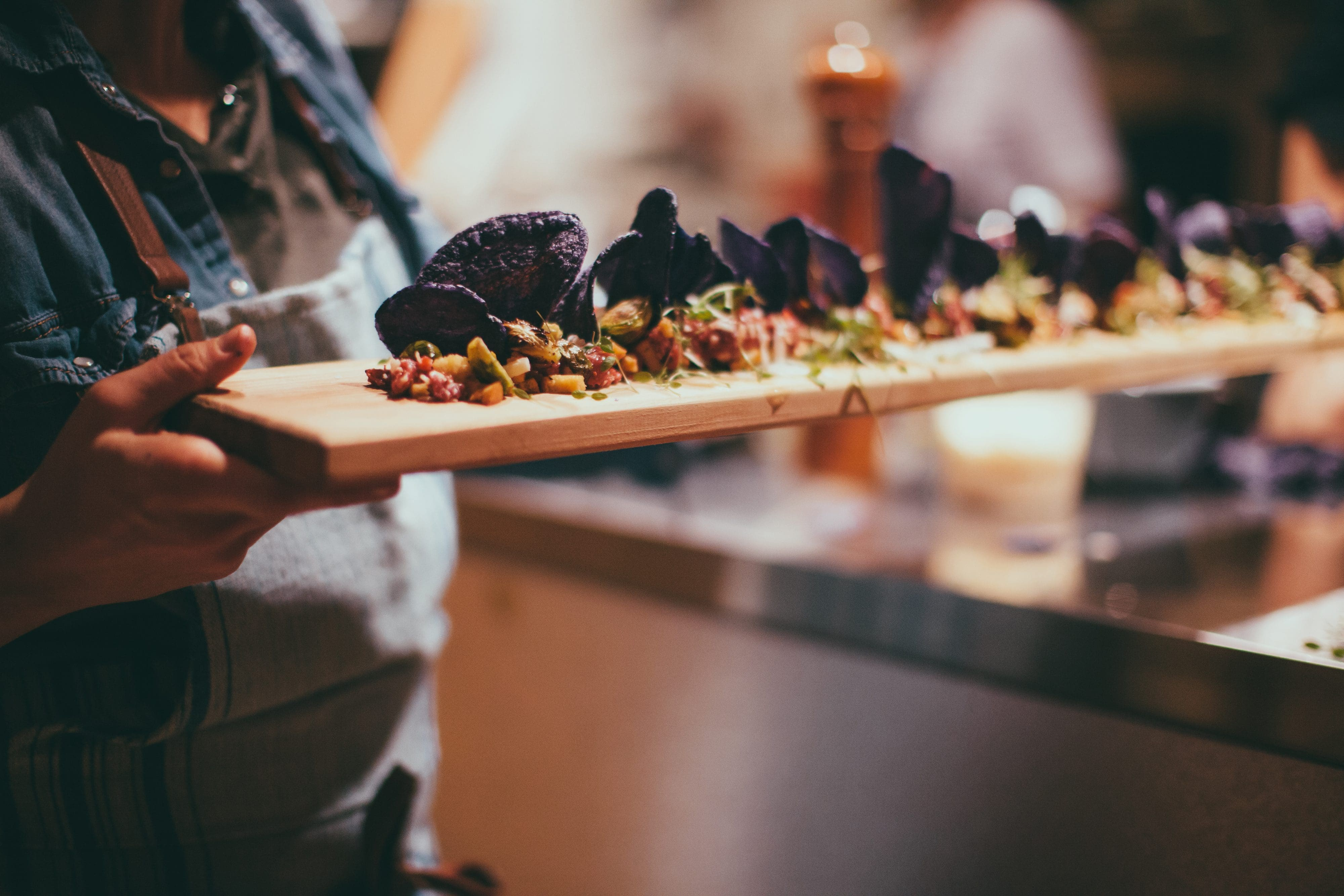 A platter of food being served