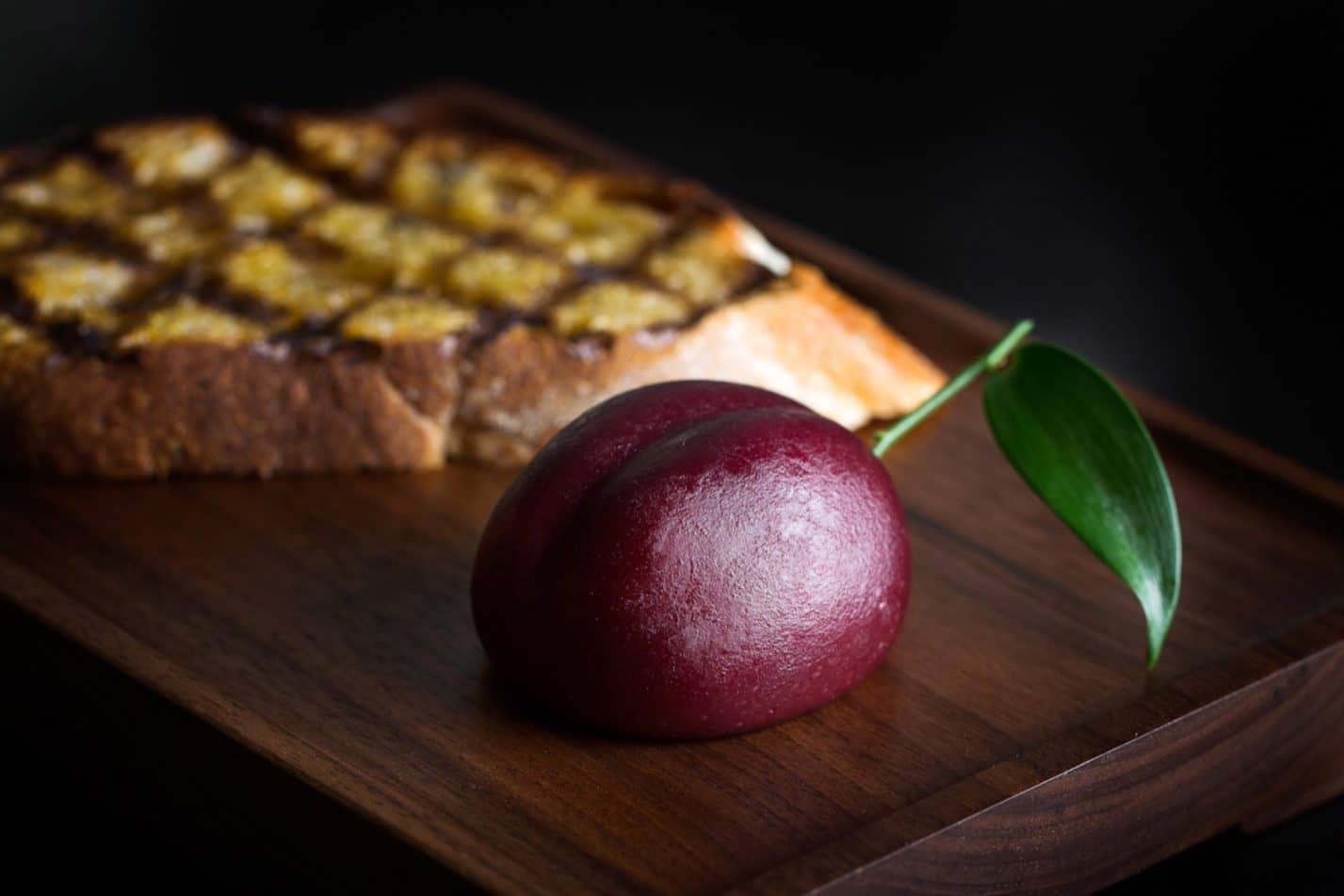 Plum 'meat fruit' dish at Dinner by Heston
